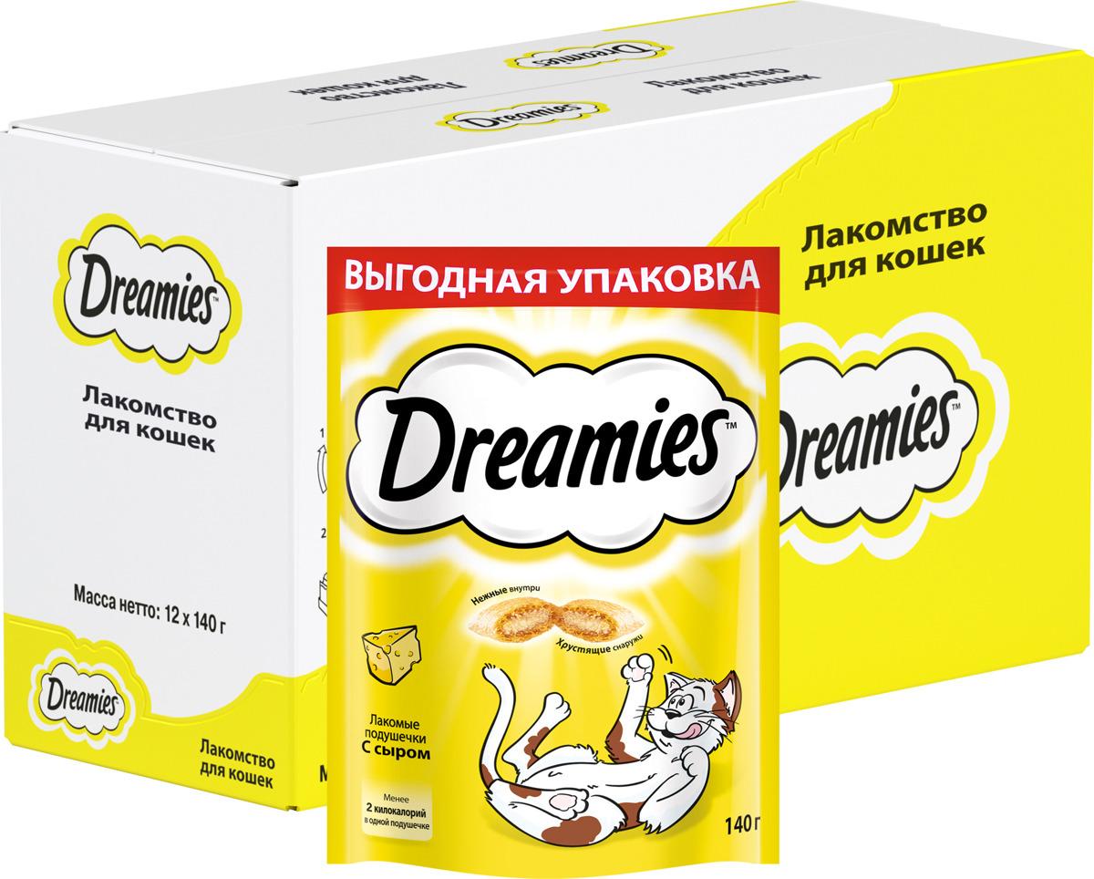 Лакомство Dreamies, для взрослых кошек, подушечки с сыром, 140 г лакомство для взрослых кошек dreamies подушечки с курицей 140 г