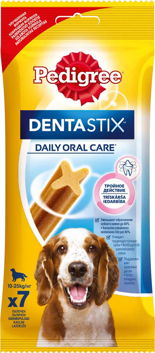 Лакомство по уходу за зубами Pedigree Denta Stix для собак средних и крупных пород, 180 г10230Собакам необходим ежедневный уход за полостью рта. Pedigree Denta Stix - это вкусное лакомство на каждый день, которое не только очищает зубы, но и укрепляет десны и освежает дыхание. Благодаря своей уникальной форме, Pedigree Denta Stix уменьшит у вашего любимца зубной камень до 80%. Denta Stix - это уникальная возможность ухаживать за зубами собаки во время еды. Структура Pedigree Denta Stix имеет Х-образный профиль. Чтобы разжевать косточку, собака должна прилагать усилия, что помогает удалить налет. Pedigree Denta Stix разжевываются в течение довольно долгого времени. Дополнительное преимущество продолжительного жевания состоит в том, что оно стимулирует выделение слюны. Слюна помогает вымывать остатки пищи и удалять их с зубов. Состав: Состав: злаки, продукты растительного происхождения, минералы, мясо и субпродукты, белковые растительные экстракты, масла и жиры, ароматизатор куриный натуральный (43,6 г). Анализ: белок - 9 г, жир - 2,6 г, клетчатка - 2,4 г, зола - 6,1 г, влажность - 8 г, триполифосфат натрия - 2,4 г, сульфат цинка - 104,5 мг. Вес: 180 г. Товар сертифицирован.