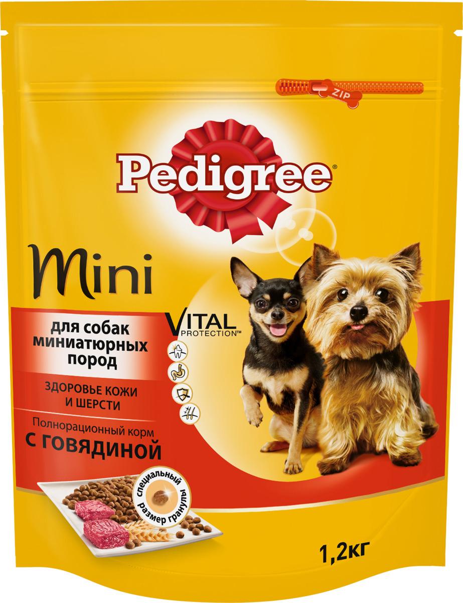 """Корм сухой """"Pedigree"""" для взрослых собак миниатюрных пород, с говядиной, 1,2 кг"""
