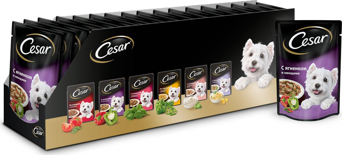 """Консервы """"Cesar"""" для взрослых собак, с ягненком и овощами, 100 г, 24 шт"""