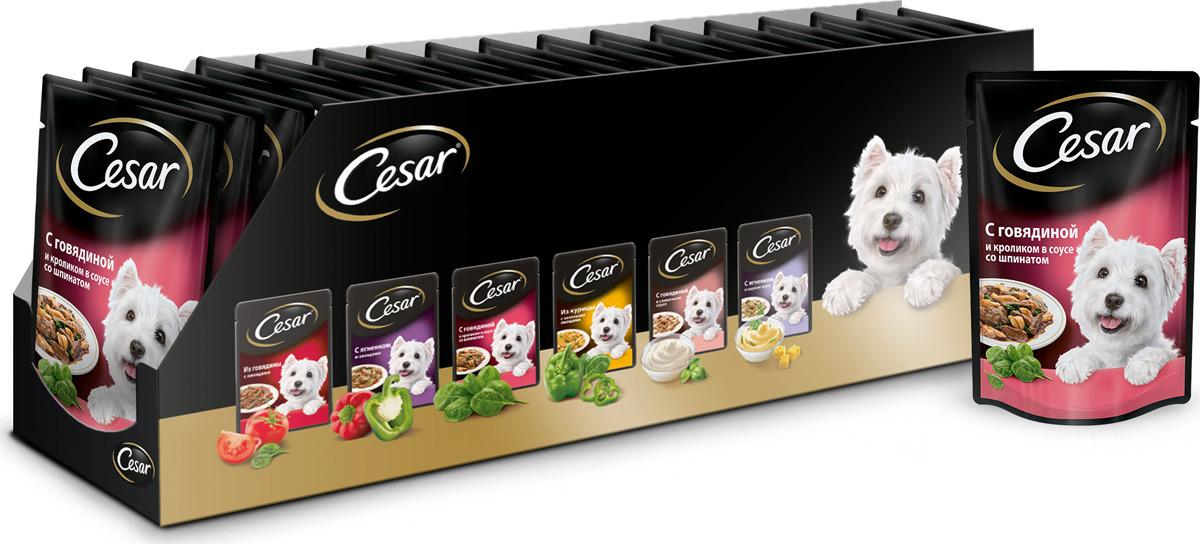 Консервы Cesar для взрослых собак, с говядиной и кроликом в соусе со шпинатом, 100 г, 24 шт цена