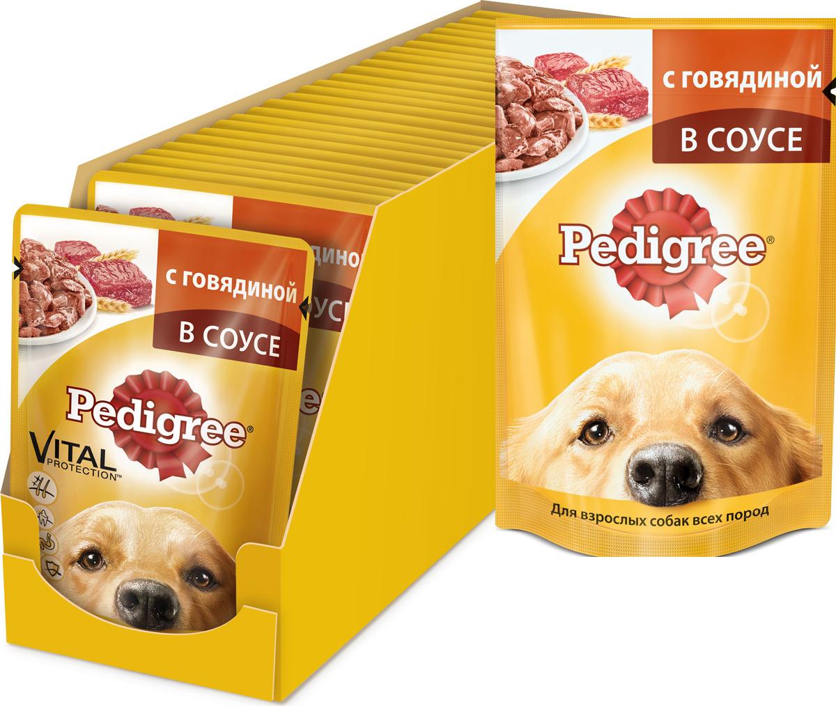 """Консервы """"Pedigree"""" для взрослых собак всех пород, с говядиной в соусе, 100 г, 24 шт"""