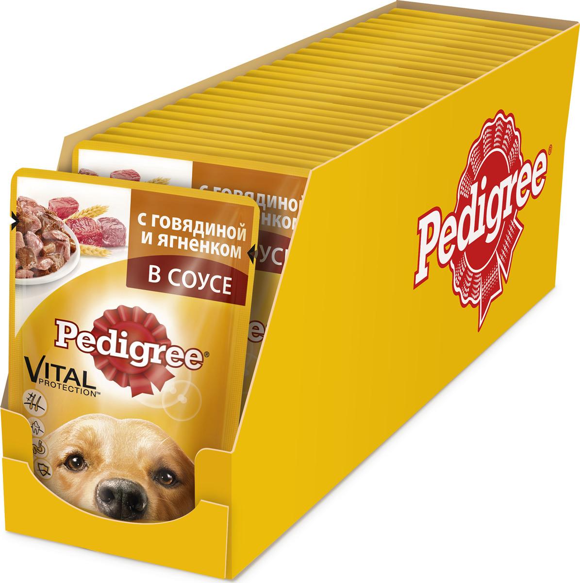"""Консервы """"Pedigree"""" для взрослых собак всех пород, с говядиной и ягненком в соусе, 100 г, 24 шт"""