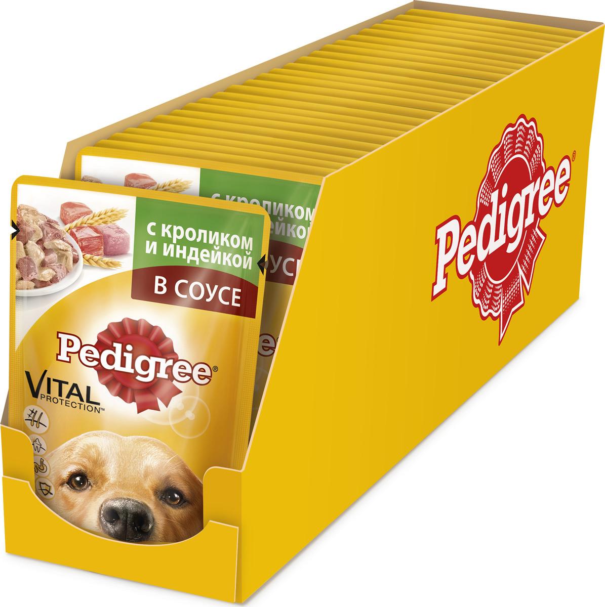 """Консервы """"Pedigree"""" для взрослых собак всех пород, с кроликом и индейкой в соусе, 100 г, 24 шт"""