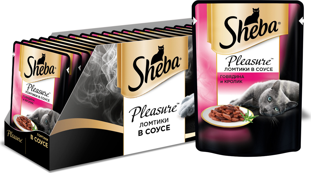 Консервы для взрослых кошек Sheba Pleasure, с говядиной и кроликом в соусе, 85 г х 24 шт консервы для взрослых кошек sheba pleasure с телятиной и языком в соусе 85 г 24 шт
