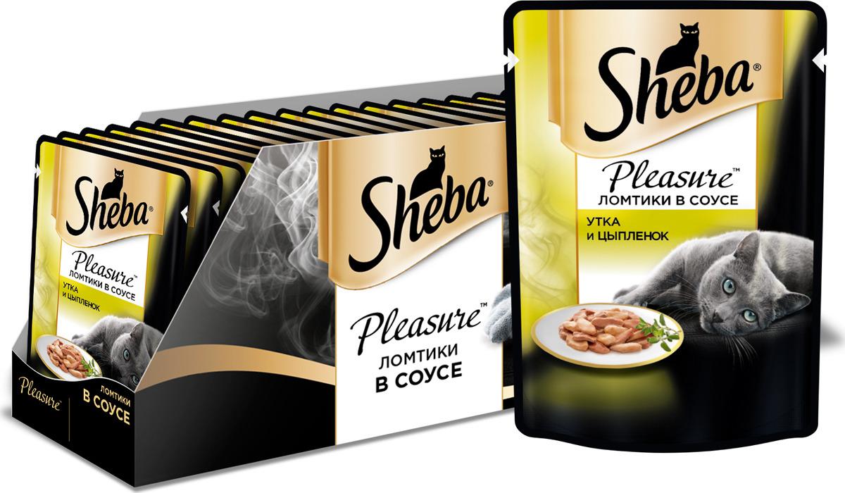 Консервы для взрослых кошек Sheba Pleasure, с уткой и цыпленком в соусе, 85 г х 24 шт консервы для взрослых кошек sheba pleasure с телятиной и языком в соусе 85 г 24 шт