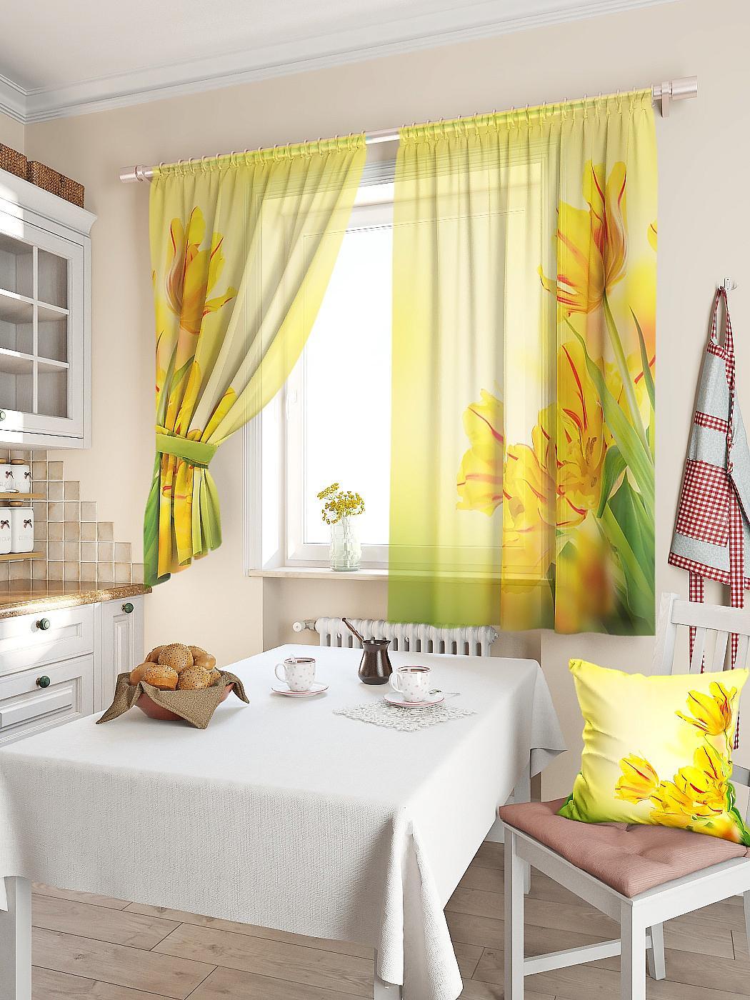купить Комплект штор Томдом Тис, желтый, зеленый, красный по цене 2840 рублей