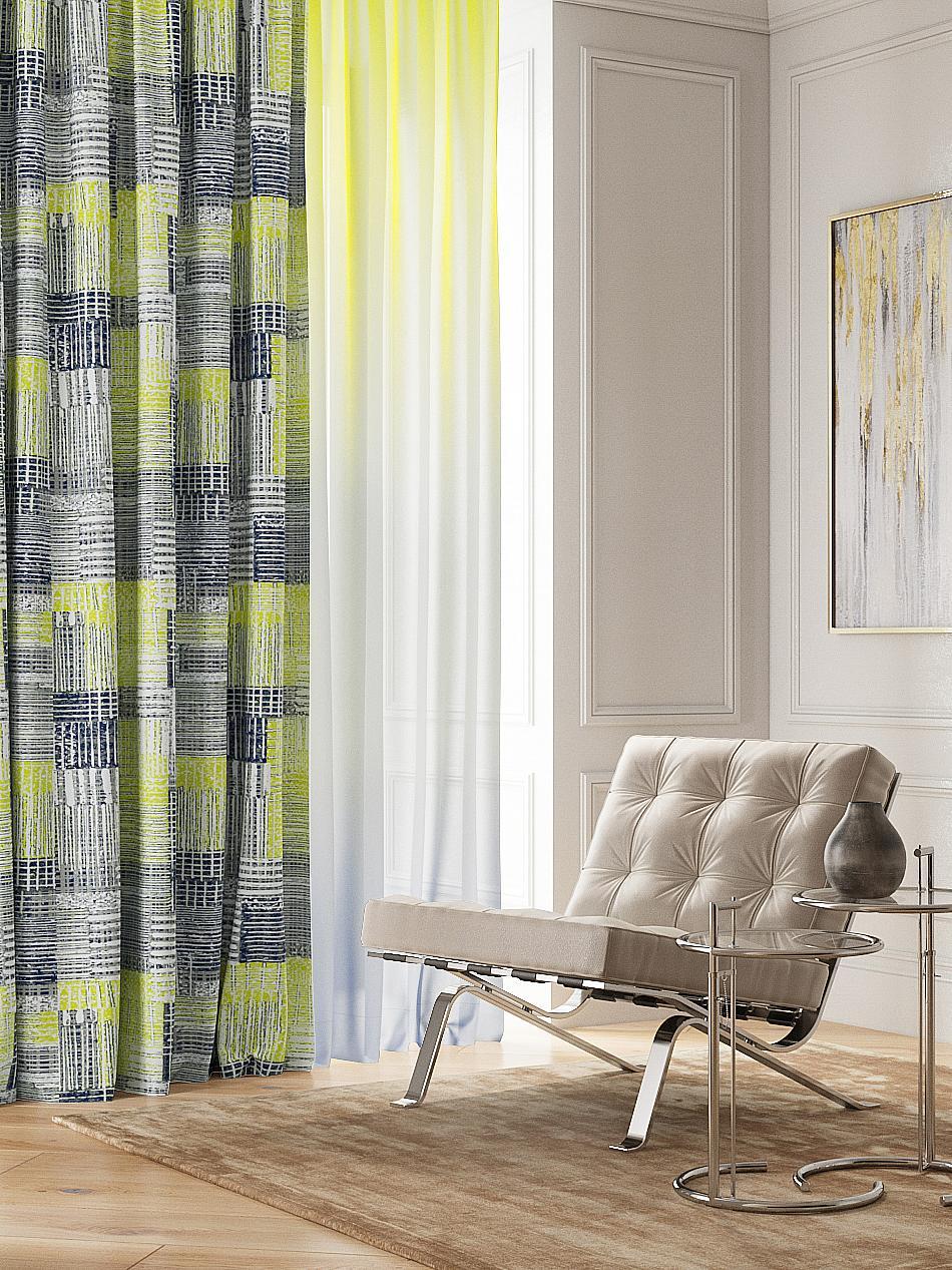 купить Комплект штор Томдом Плорони, зеленый, серый, желтый по цене 4980 рублей