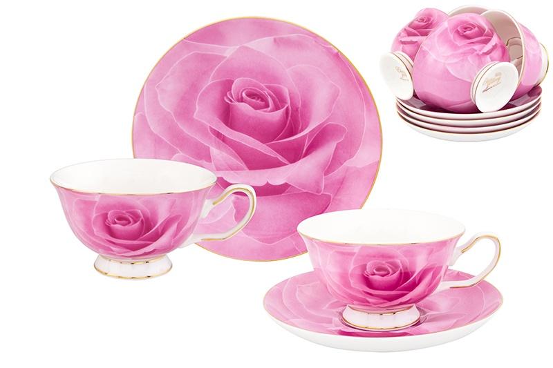 Набор чайный Elan Gallery Розовая роза, розовый, белый шкатулка elan gallery плетистая роза высота 6 5 см
