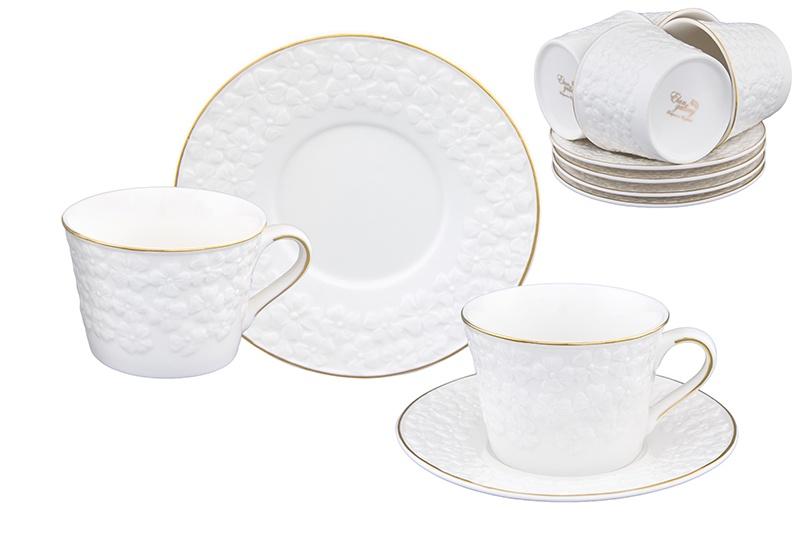 Чайный набор 12 предметов 210 мл Elan Gallery Белоснежные цветы