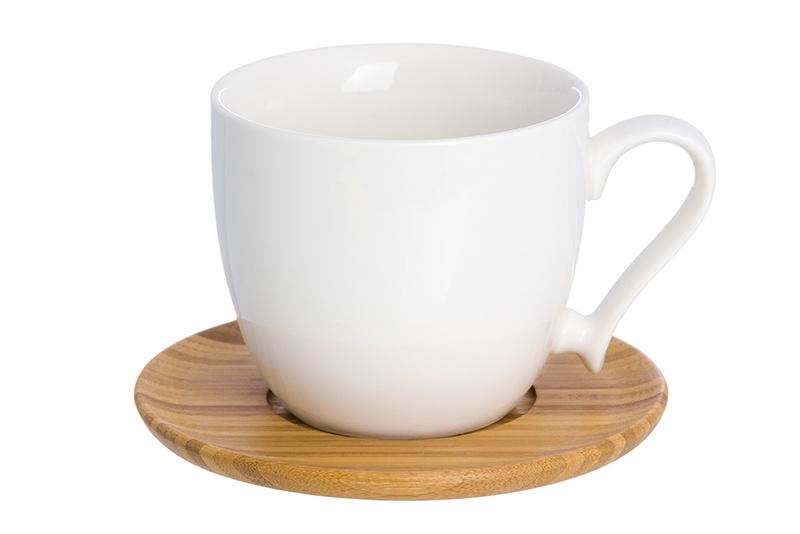 Чашка для капучино и кофе латте Elan Gallery 220 мл 11х8,3х7,5 см Снежинка с деревянной подставкой
