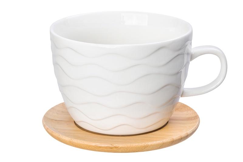 Фото - Чашка для капучино и кофе латте Айсберг 14*11,2*8 см. 500 мл., с деревянной подставкой, диаметр подставки - 12,5 см, высота подставки - 0,5 см. [супермаркет] jingdong геб scybe фил приблизительно круглая чашка установлена в вертикальном положении стеклянной чашки 290мла 6 z