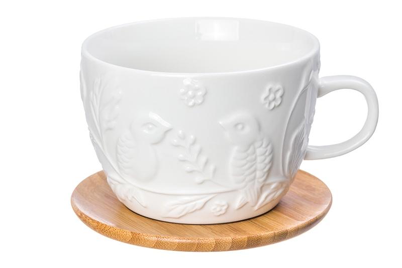 Фото - Чашка для капучино и кофе латте Птички на ветке 14*11,2*8 см. 500 мл., с деревянной подставкой, диаметр подставки - 12,5 см, высота подставки - 0,5 см. [супермаркет] jingdong геб scybe фил приблизительно круглая чашка установлена в вертикальном положении стеклянной чашки 290мла 6 z