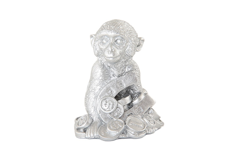 Фигурка декоративная Обезьянка серебро 3,5*3*4 см., в пакетике, полистоун фигурка декоративная crystocraft петух 4 2 3 1 6 3 см серебро