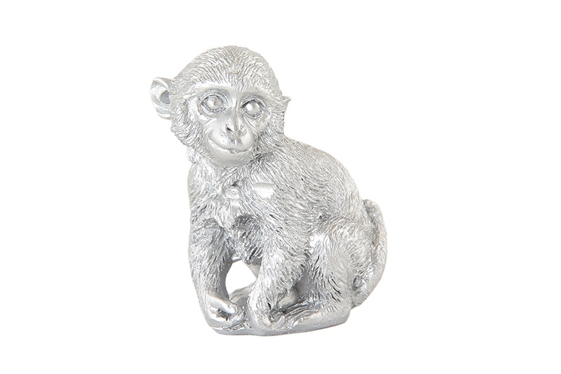 Фигурка декоративная Обезьянка серебро 3*2,5*4 см., в пакетике, полистоун фигурка декоративная crystocraft петух 4 2 3 1 6 3 см серебро