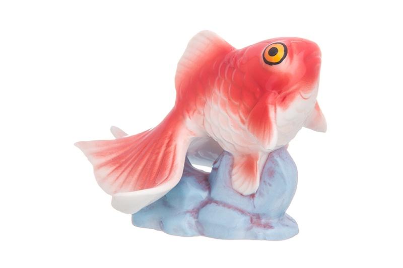 Фигурка декоративная Золотая рыбка цветная, 9*8*7 см цена