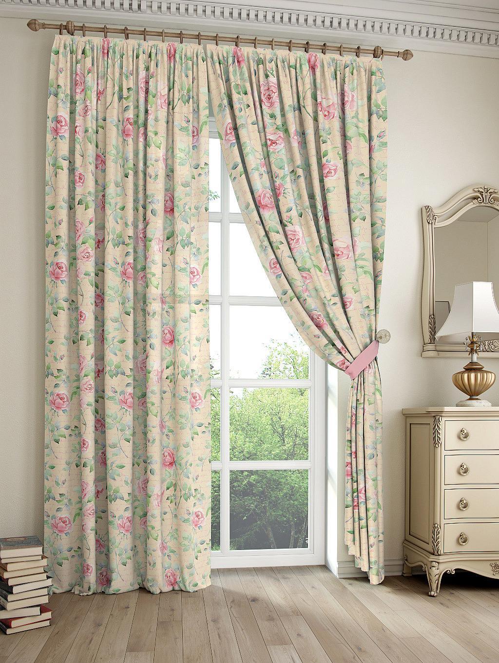 купить Комплект штор Томдом Жюли, бежевый, зеленый, розовый по цене 4415 рублей