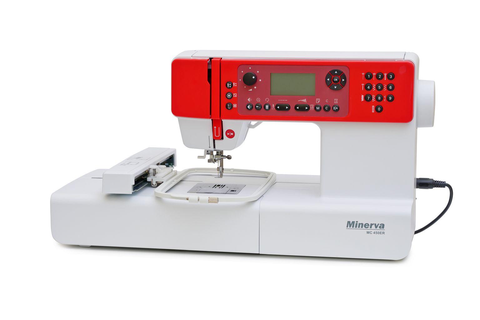 Вышивальная машина Minerva 450ER, белый, красный распошивальная машина minerva cs 1000 pro