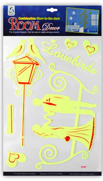 Наклейки Room Décor виниловые светящиеся в темноте 30х42см, Влюбленная пара, Винил