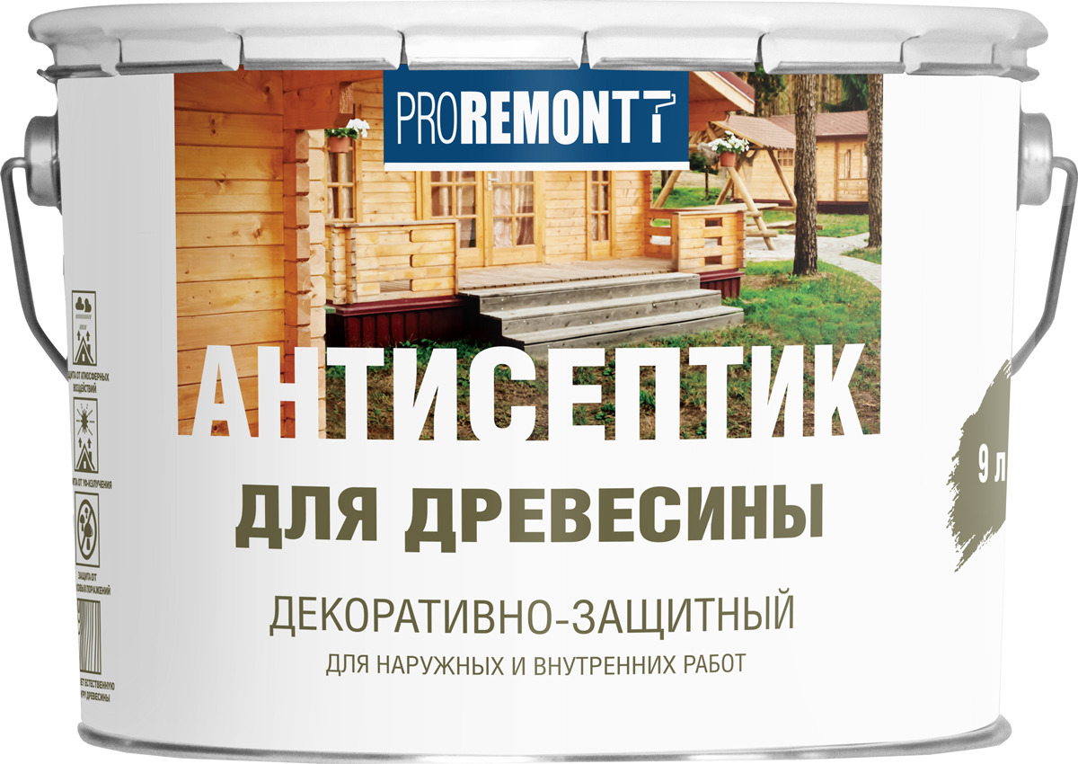 Антисептик для древесины Proremontt, орех, 9 л цена и фото