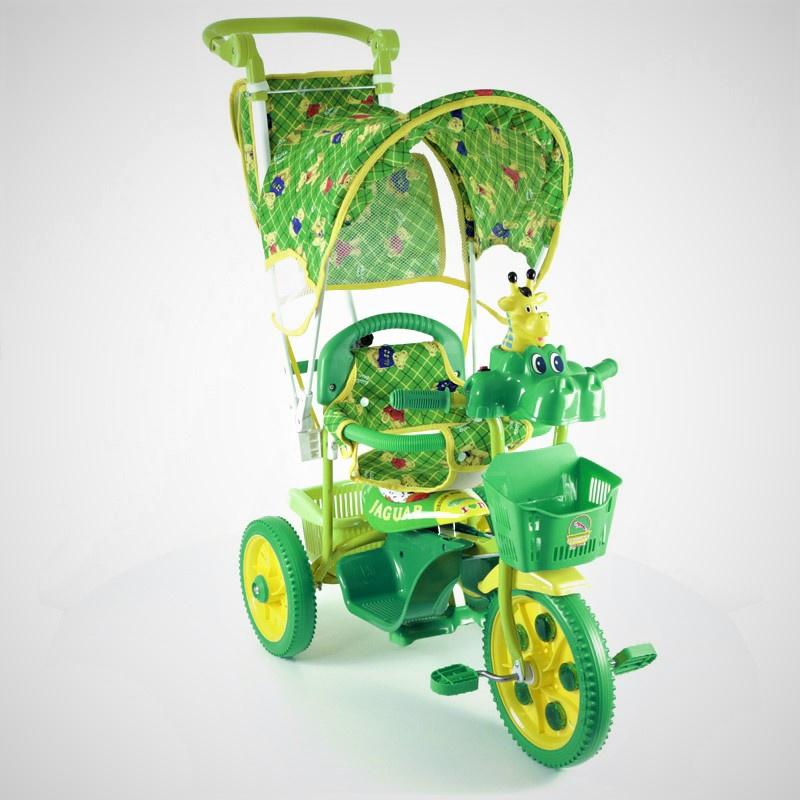 Велосипед Jaguar MS-0737К, зеленыйMS-0737КзеленыйДетский трехколесный велосипед Jaguar 0737К для малышей от 10 месяцев до 4-х лет. Доступный, надежный и долговечный! Велосипед с увеличенным радиусом колеса! Колясочная ручка для родителя с функцией управления рулем поможет контролировать движения ребенка, страховочный обод - сделает поездку безопасной и максимально комфортной. Большая вместительная корзина позволит брать с собой на прогулку необходимые вещи. Колеса из вспененного материала обеспечат плавное, легкое движение практически по любой дороге. Руль с забавной, яркой игрушкой привлечет внимание Вашего ребенка и поспособствует развитию моторики, а так же послужит отличным развлечением малышу во время прогулки. Детский трехколесный вело Jaguar 0737К порадует любого ребенка!!! Большая подножка для ног и светлячки на переднем колесе не входят в стандартную комплектацию (можно заказать дополнительно)