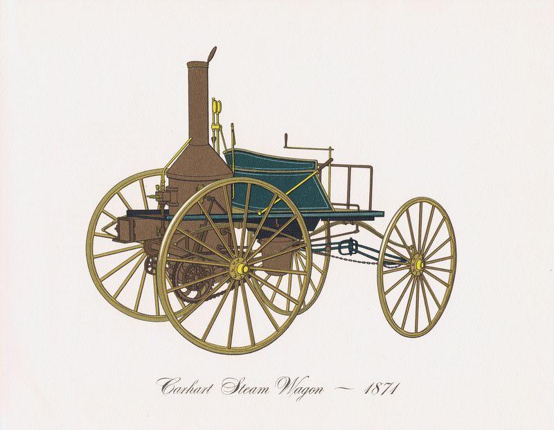 Гравюра Clarence Hornung Carhart Steam Wagon 1871 года. Паровой автомобиль (паромобиль) Кархарта. Литография. США, Нью-Йорк, 1965 год