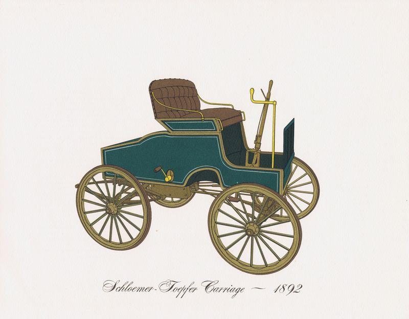 Гравюра Clarence Hornung Автомобиль Schloemer-Toepfer Carriage 1892 года. Коляска (каретка) Шлоемера-Тоепфера. Литография. США, Нью-Йорк, 1965 год