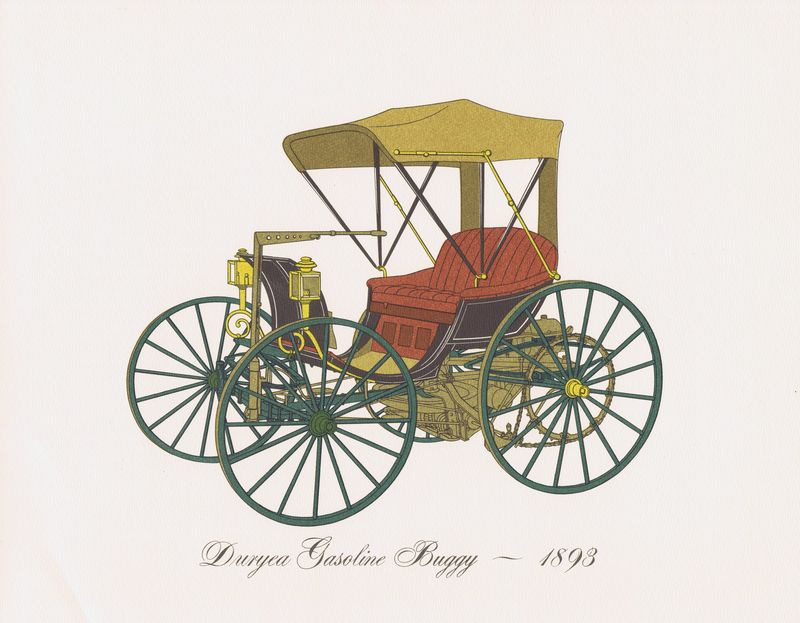 Гравюра Clarence Hornung Автомобиль Duryea Gasoline Buggy 1893 года. Бензиновый багги Дюрье. Литография. США, Нью-Йорк, 1965 год