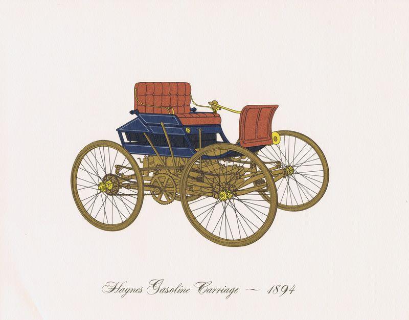 Гравюра Clarence Hornung Haynes Gasoline Carriage 1894 года. Бензиновый автомобиль Хейнса. Литография. США, Нью-Йорк, 1965 год