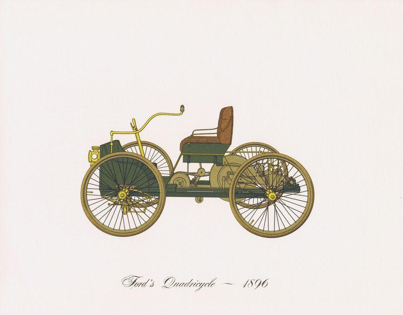 Гравюра Clarence Hornung Автомобиль Ford's Quadricycle 1896 года. Квадрицикл Форда. Литография. США, Нью-Йорк, 1965 год