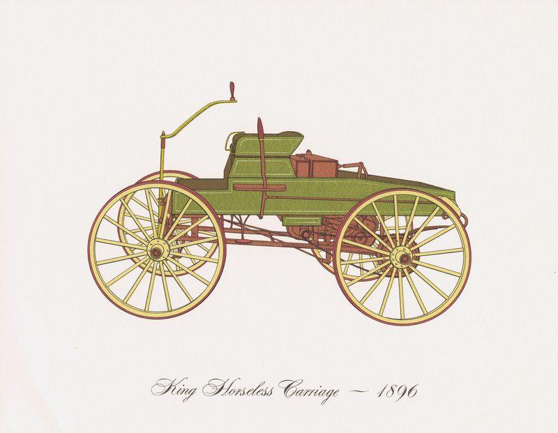 Гравюра Clarence Hornung King Horseless Carriage 1896 года. Автомобиль Кинга. Литография. США, Нью-Йорк, 1965 год