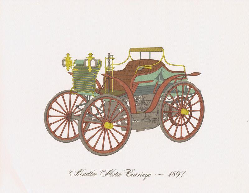 Гравюра Clarence Hornung Mueller Motor Carriage 1897 года. Автомобиль Мюллера. Литография. США, Нью-Йорк, 1965 год