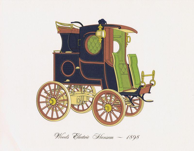 Гравюра Clarence Hornung Автомобиль Woods Electric Hansom 1898 года. Электрокэб Вудса (электромобиль). Литография. США, Нью-Йорк, 1965 год