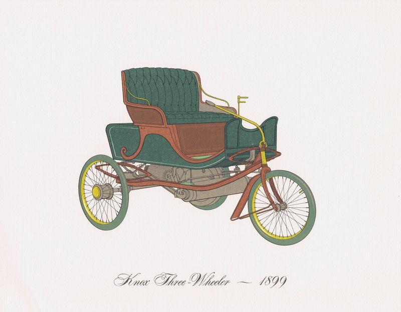 Гравюра Clarence Hornung Knox Three-Wheeler 1899 года. Трёхколёсный автомобиль Нокса. Литография. США, Нью-Йорк, 1965 год