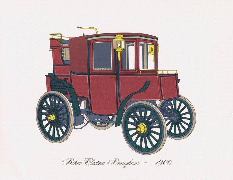 Гравюра Clarence Hornung Автомобиль Riker Electric Brougham 1900 года. Электрический брогам Райкера (электромобиль). Литография. США, Нью-Йорк, 1965 год