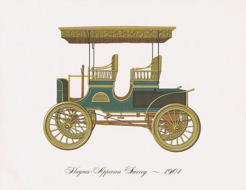 Гравюра Clarence Hornung Автомобиль Haynes-Apperson Surrey 1901 года. Литография. США, Нью-Йорк, 1965 год