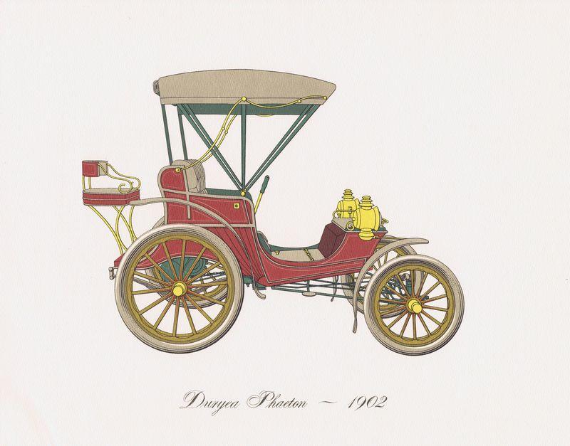 Гравюра Clarence Hornung Автомобиль Duryea Phaeton 1902 года. Фаэтон Дюрье. Литография. США, Нью-Йорк, 1965 год