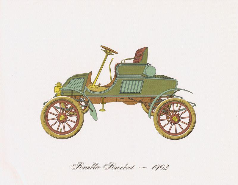 Гравюра Clarence Hornung Автомобиль Rambler Runabout 1902 года. Литография. США, Нью-Йорк, 1965 год