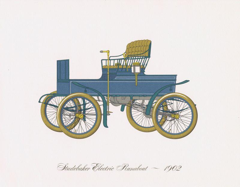 Гравюра Clarence Hornung Studebaker Electric Runabout 1902 года. Электрический автомобиль (электромобиль) Студебейкер. Литография. США, Нью-Йорк, 1965 год