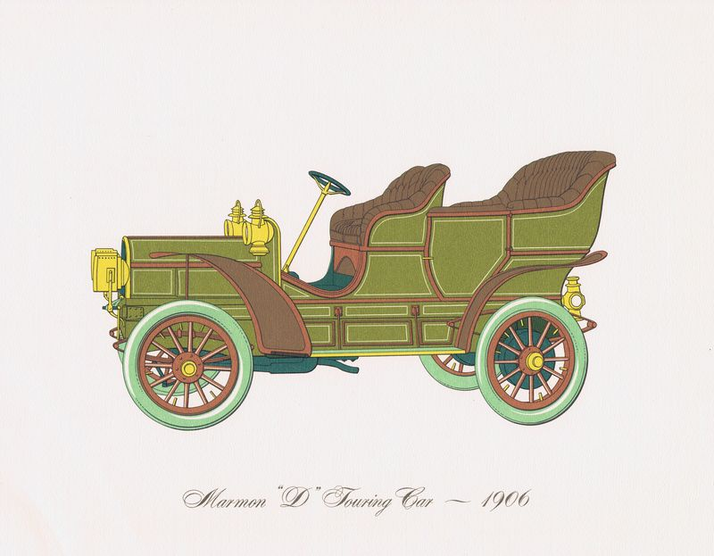 Гравюра Clarence Hornung Marmon D Touring Car 1906 года. Туристический (прогулочный) автомобиль Мармона. Литография. США, Нью-Йорк, 1965 год