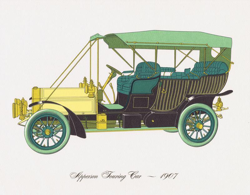 Гравюра Clarence Hornung Apperson Touring Car 1907 года. Туристический (прогулочный) автомобиль Апперсона. Литография. США, Нью-Йорк, 1965 год