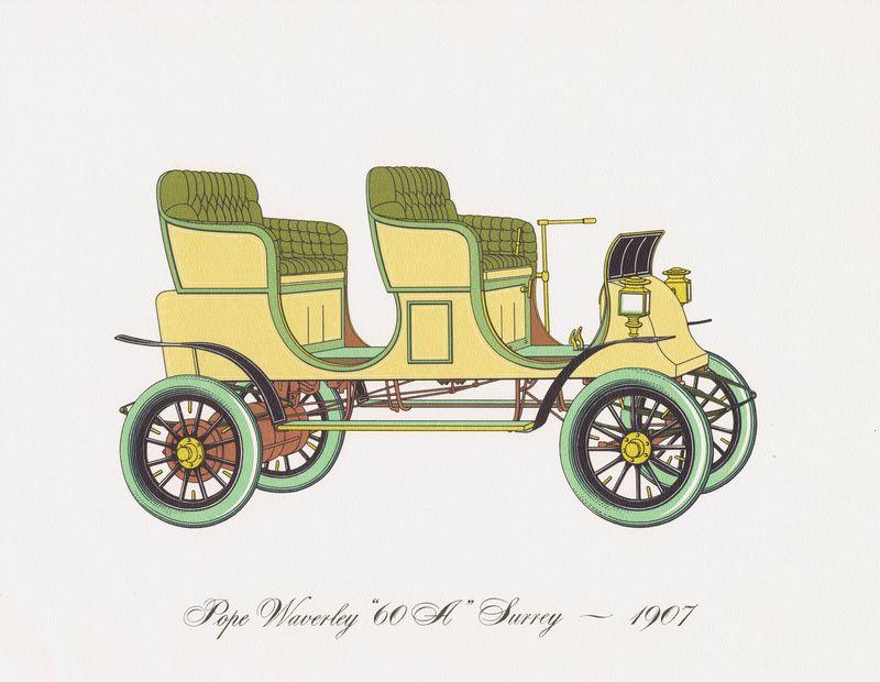 Гравюра Clarence Hornung Электрический автомобиль (электромобиль) Pope-Waverly 60-A Surrey 1907 года. Литография. США, Нью-Йорк, 1965 год