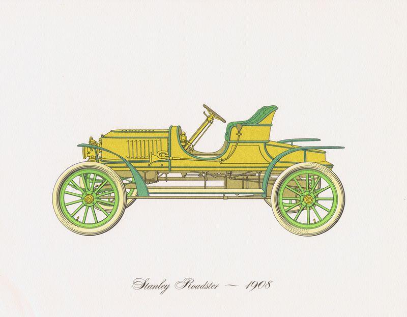 Гравюра Clarence Hornung Автомобиль Stanley Roadster 1908 года. Литография. США, Нью-Йорк, 1965 год