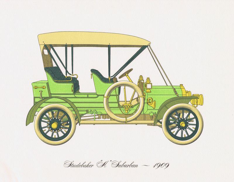 Гравюра Clarence Hornung Studebaker A Suburban 1909 года. Автомобиль Студебейкер Субурбан. Литография. США, Нью-Йорк, 1965 год