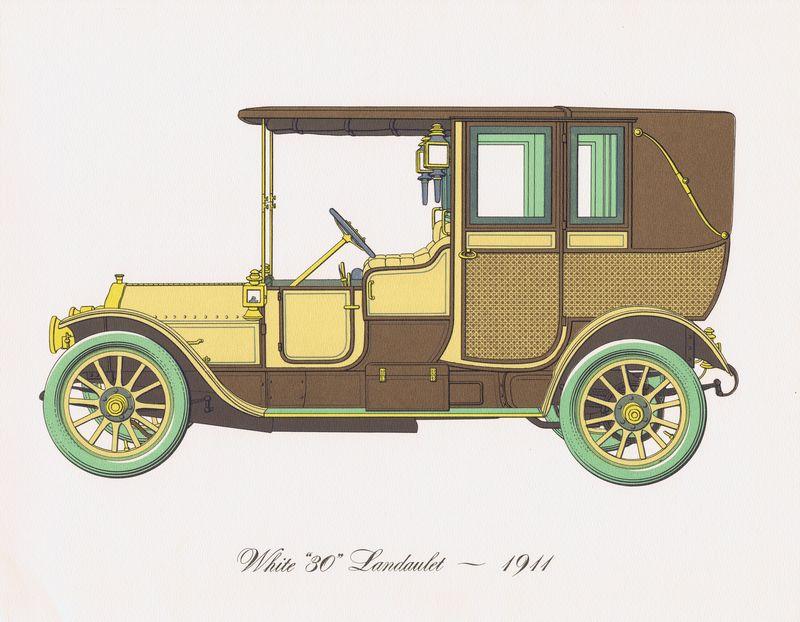 Гравюра Clarence Hornung Автомобиль White 30 Landaulet 1911 года. Литография. США, Нью-Йорк, 1965 год