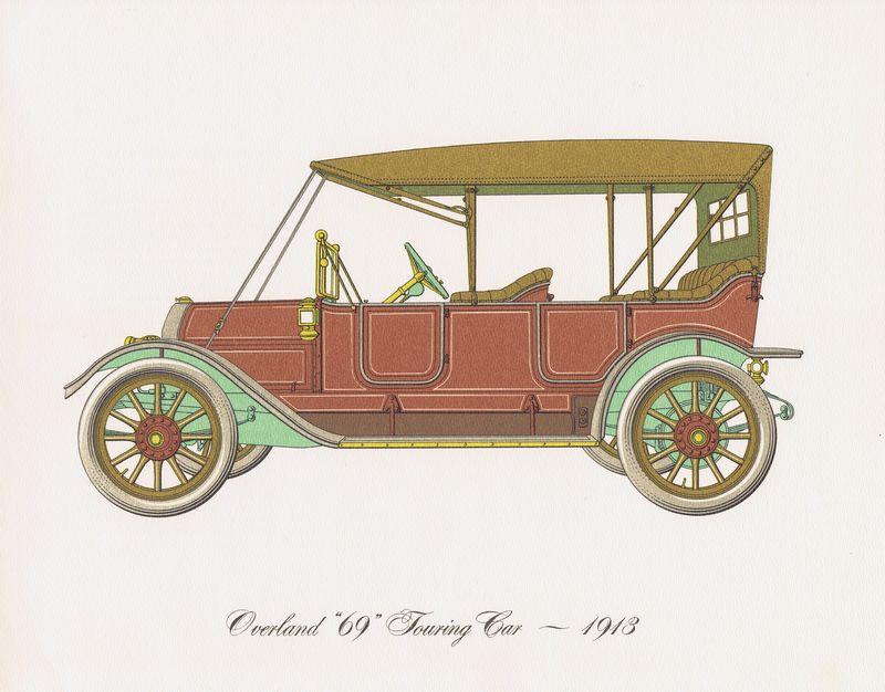 Гравюра Clarence Hornung Overland 69 Touring Car 1913 года. Туристический (прогулочный) автомобиль. Литография. США, Нью-Йорк, 1965 год