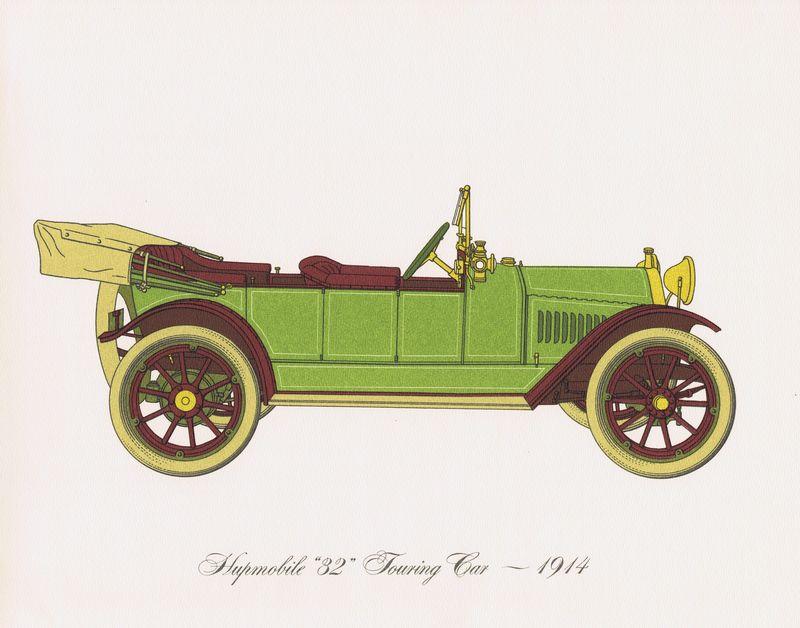 Гравюра Clarence Hornung Hupmobile 32 Touring Car 1914 года. Прогулочный (туристический) автомобиль. Литография. США, Нью-Йорк, 1965 год