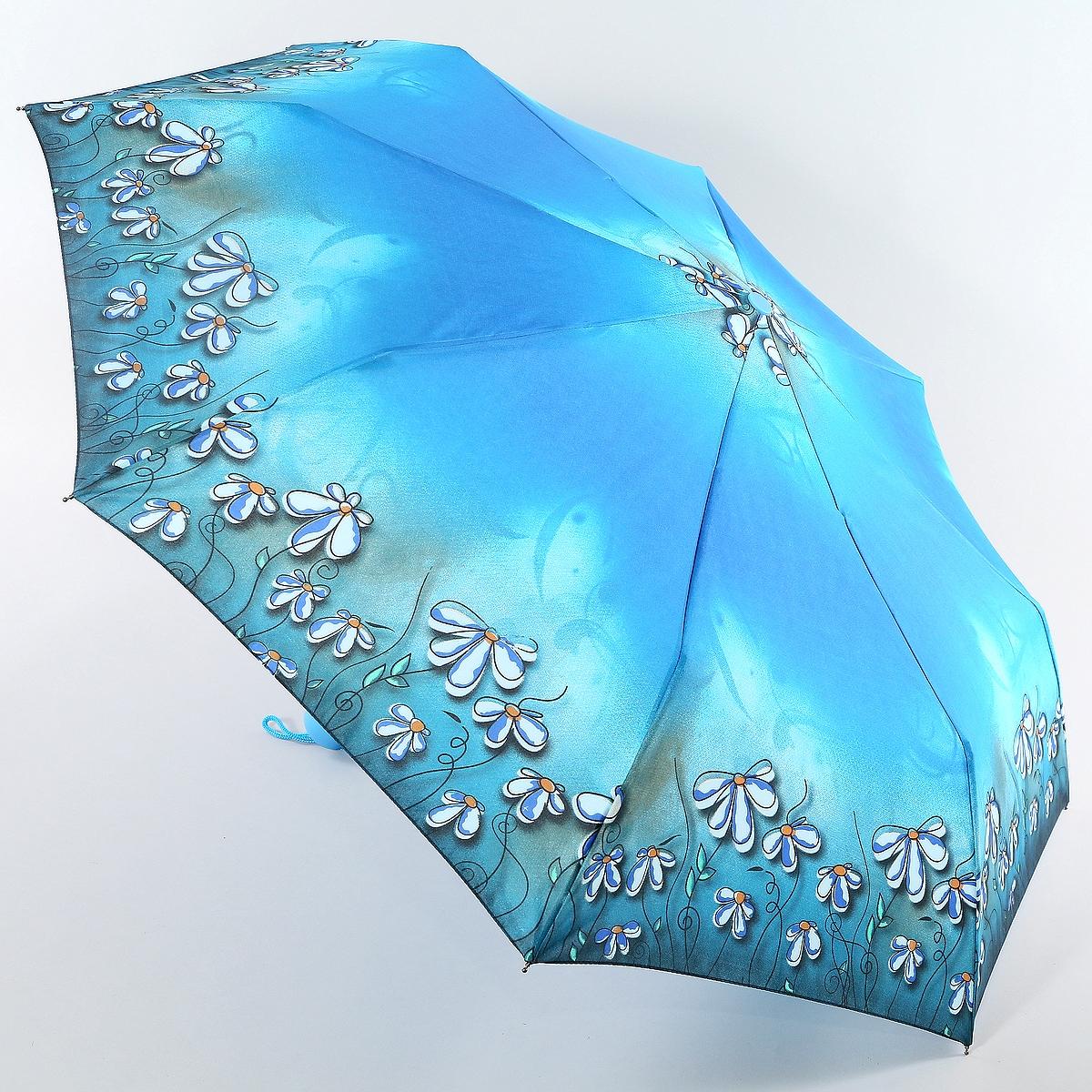 Зонт ArtRain арт.3915-5137, голубой3915-5137Женский зонт 3 сложения, полный автомат открытие и закрытие с кнопки, складывание стержня в ручную. Купол 98см. Такой зонт защитит от непогоды и создаст прекрасное настроение. Яркий цветочный принт. Материал спиц выполнен из прочной стали, купол полиэстер - ткань быстро сохнет, износостойкая, мало мнется, устойчив к воздействию тепла и света, легко стирается и не нуждается в специальном уходе. Зонт будет приятным спутником на прогулках, фотосессиях или прекрасным подарком.