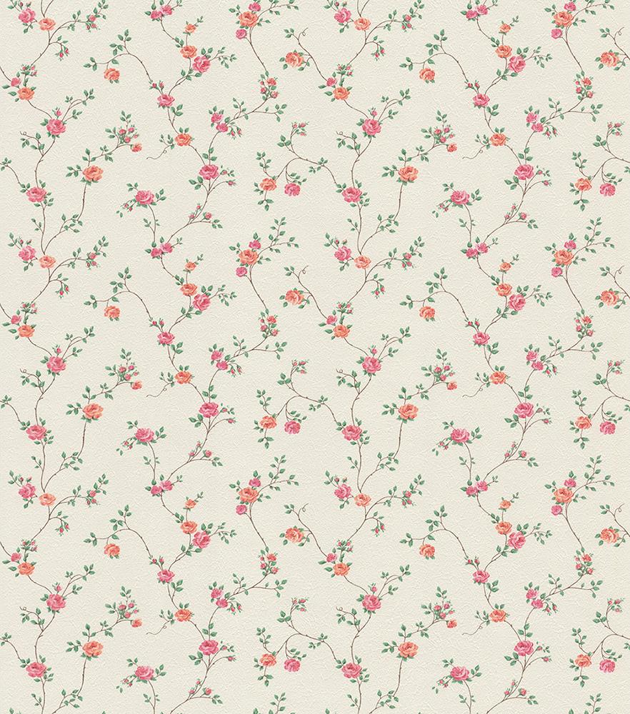 купить Обои Московская Обойная Фабрика (МОФ) Ситец, белый, коралловый, зеленый, розовый онлайн