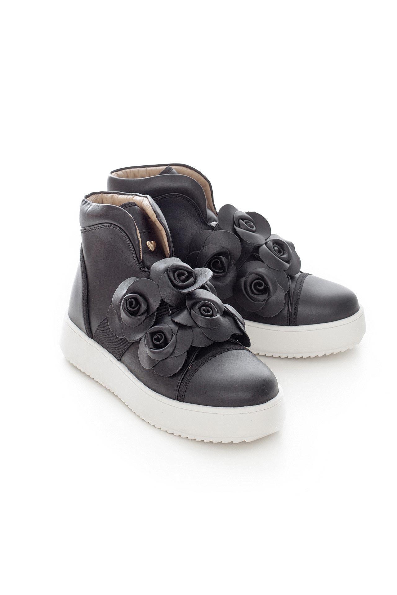 Кроссовки TWIN-SET купить черные кожаные кроссовки